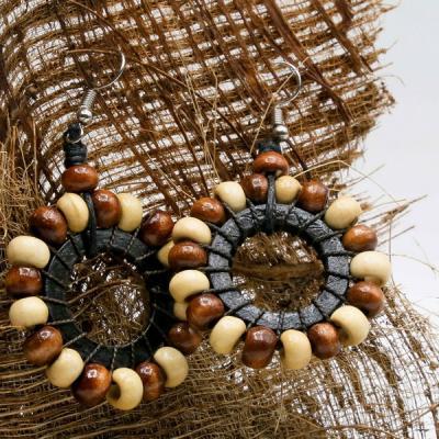 Boucles d'oreilles perle bois