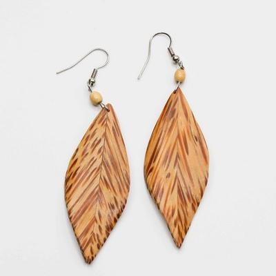 Boucles d'oreilles feuille en bois
