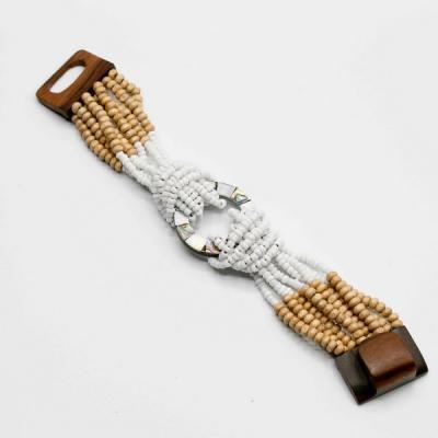 Bracelet perle de rocaille/anneau central nacre