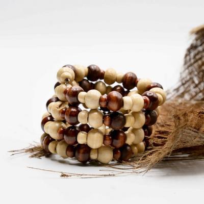 Bracelet spirale perle bois