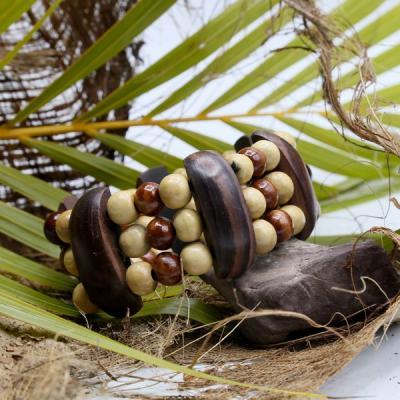 Bracelet naturel  perle bois séparateur en bois