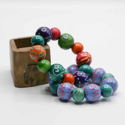 Bracelet grosse perle bois peint