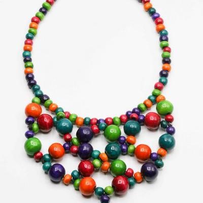 Collier c30 perle bois