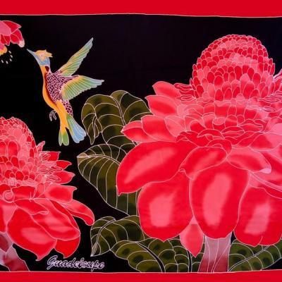 Paréo Colibris 2 roses de porcelaines